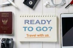 Przygotowywający iść podróż z my agencja podróży sztandar Fotografia Stock