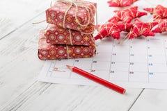 Przygotowywający nadchodzący boże narodzenia Kalendarz z ocenioną datą święto bożęgo narodzenia Obrazy Royalty Free