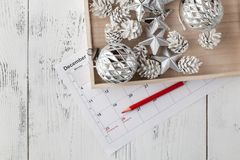 Przygotowywający nadchodzący boże narodzenia Kalendarz z ocenioną datą święto bożęgo narodzenia Zdjęcia Stock