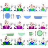 przygotowywający obiadowi głodni dzieciaki ilustracja wektor