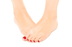 Przygotowywająca żeńska stopa z czerwonym pedicure'em Zdjęcie Stock