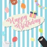 Przyjęcia urodzinowego tła wektorowa ilustracja, kolorowy z 3 ślicznym niedźwiedziem i zdjęcia stock