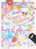 Przyjęcia urodzinowego tła wektorowa ilustracja, kolorowy z 3 ślicznym niedźwiedziem i obrazy royalty free