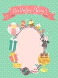 Przyjęcia Urodzinowego zaproszenia karta Obrazy Stock