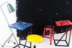Przyjęcie, błękit, czerwień, kolor żółty, deska, kredowego biurowego warsztatowego centrum szkoleniowego klasowy pokój Obrazy Royalty Free
