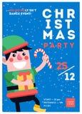 Przyjęcie gwiazdkowe szablonu plakatowy projekt Xmas ulotka w śmiesznej furze royalty ilustracja