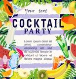 Przyjęcie koktajlowe plakat z napojami i owoc również zwrócić corel ilustracji wektora Obrazy Stock
