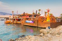 Przyjęcie na Zrce plaży, Novalja, Pag wyspa, Chorwacja Obrazy Stock