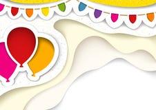 Przyjęcie Szybko się zwiększać z dekoracjami w cięciu Za stylu ilustracja wektor