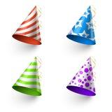 Przyjęcie urodzinowe śmiesznych kapeluszy fotografii budka wektorowi szablony royalty ilustracja