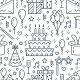 Przyjęcie urodzinowe bezszwowy wzór, płaska kreskowa ilustracja Wektorowe ikony wydarzenie agencja, ślubna organizacja - tort ilustracja wektor
