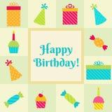 Przyjęcie urodzinowe karta Zdjęcia Stock