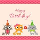 Przyjęcie urodzinowe karta z kotami royalty ilustracja