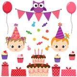 Przyjęcie Urodzinowe set ilustracja wektor
