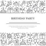 Przyjęcie urodzinowe sztandar z dwa horyzontalnymi liniami kreskowe ikony z editable uderzeniem ilustracja wektor