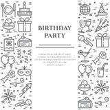 Przyjęcie urodzinowe sztandar z dwa pionowo liniami kreskowe ikony z editable uderzeniem ilustracja wektor