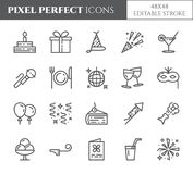 Przyjęcie urodzinowe tematu piksel perfect cienieje kreskowe ikony Set elementy tort, teraźniejszość, szampan, dyskoteka, fajerwe ilustracja wektor