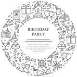 Przyjęcie urodzinowe tematu sztandaru składać się z kreskowe ikony z editable uderzeniem w formie okrąg z kopii przestrzenią ilustracji