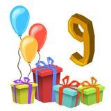 Przyjęcia Urodzinowego zaproszenia karty szablon Fotografia Royalty Free
