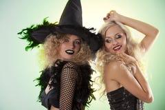 przyjęcie czarny czarownica dwa Fotografia Royalty Free