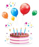 Przyjęcie Urodzinowe torta balonu wektor zdjęcia royalty free