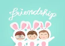Przyjaźń, kartka z pozdrowieniami, urocza królika dzieciaka maskotka, śliczna kreskówka używa dla dzieci świętuje zaproszenie pla royalty ilustracja
