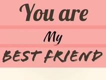 Przyjaźni karta ty jesteś mój najlepszym przyjacielem na Lite menchii ścianie obraz royalty free