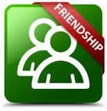 Przyjaźni grupowej ikony zieleni kwadrata guzik Obraz Stock