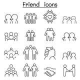 Przyjaciel & harmonii ikona ustawiająca w cienkim kreskowym stylu ilustracji