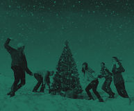 Przyjaciel zimy wakacji świętowania Bożenarodzeniowy pojęcie zdjęcie stock