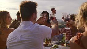 Przyjaciele świętuje specjalną okazję z winem zdjęcie wideo