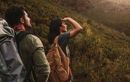Przyjaciele backpacking naturę i bada obraz stock