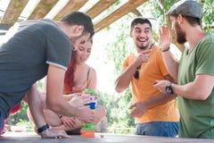 Przyjaciele bawić się blokową grę Obrazy Stock