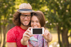 Przyjaciele bierze selfie w parku Obraz Stock