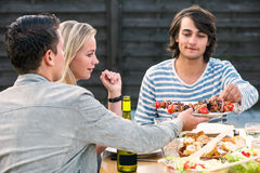 Przyjaciele cieszy się obiadowego przyjęcia outside Zdjęcie Royalty Free