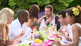 Przyjaciele Cieszy się Plenerowego Obiadowego przyjęcia Wpólnie zbiory wideo