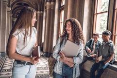 Przyjaciele i nauka partnery! Grupa student collegu stoi wpólnie i gawędzi na uniwersyteckiej sali obraz royalty free