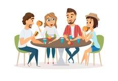 Przyjaciele je fast food ilustracji