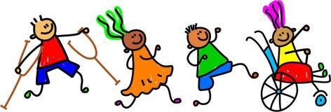 przyjaciele niepełnosprawnych ilustracja wektor