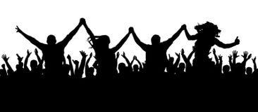 Przyjaciele przy partyjną sylwetką Tłum ludzie przy koncertem ilustracji