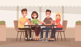 Przyjaciele siedzą przy stołem w lato kawiarni Wektorowy illustra ilustracja wektor