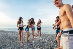Przyjaciele tanczą na plaży pod zmierzchu światłem słonecznym, mieć zabawę, szczęśliwą, cieszą się zdjęcie stock