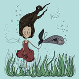 Przyjaciele z ryba Fotografia Stock