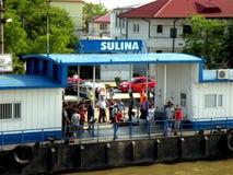 Przyjazd statek w schronieniu Sulina Obraz Royalty Free