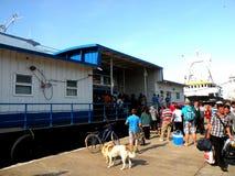 Przyjazd statek w schronieniu Sulina Fotografia Stock