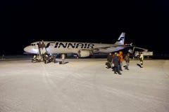 Przyjeżdżający przy Ivalo lotniskiem, Fiński Lapland obraz royalty free