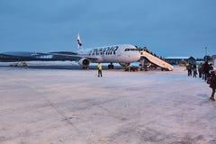 Przyjeżdżający przy Ivalo lotniskiem, Fiński Lapland obrazy stock