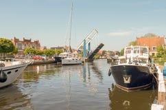 Przyjemność jachty w porcie Lemmer Fotografia Royalty Free