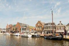 Przyjemności żaglówki w porcie Lemmer i jachty Zdjęcie Royalty Free