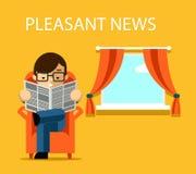 Przyjemny wiadomości pojęcie Biznesmena czytanie ilustracji